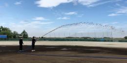 内野の放水設備が完成